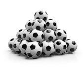Pyramid made from footballs