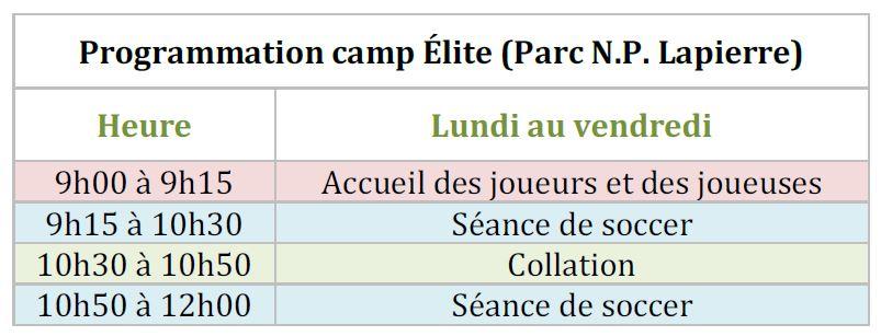 horaire camp élite