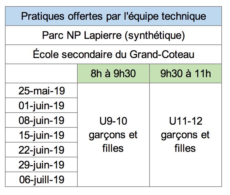 horaire CDL U9-U12